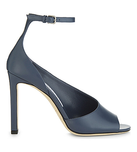JIMMY CHOO Theresa 100 leather heeled sandals (Stormy+blue