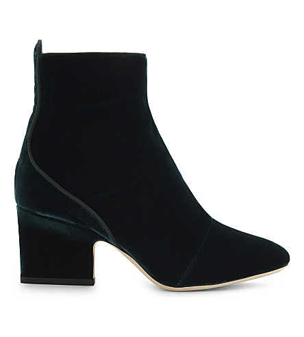 JIMMY CHOO Autumn 65 velvet heeled ankle boots (Bottle+green
