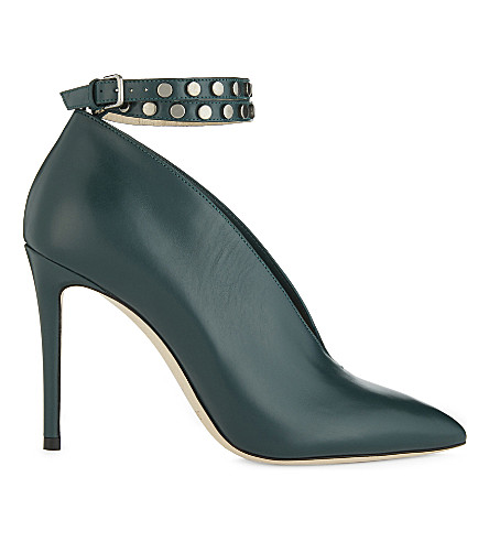 JIMMY CHOO Lark 100 leather heeled ankle boots (Bottle+green