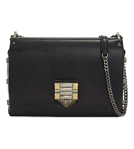 JIMMY CHOO Lockett City Vintage leather shoulder bag (Black