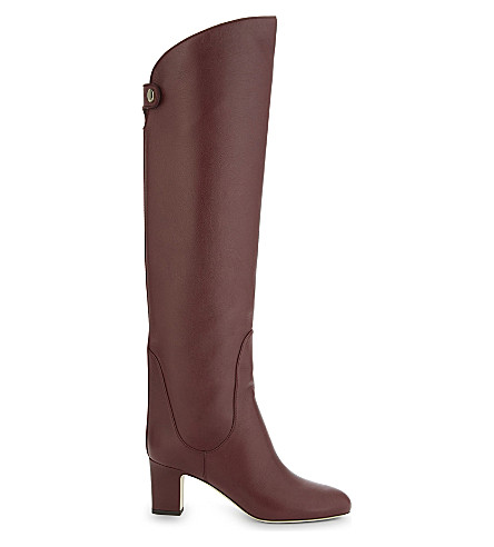 JIMMY CHOO Minerva 65 leather knee-high boots (Vino