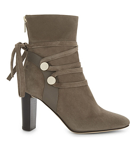 JIMMY CHOO Houston 85 suede heeled ankle boots (Mink/mink
