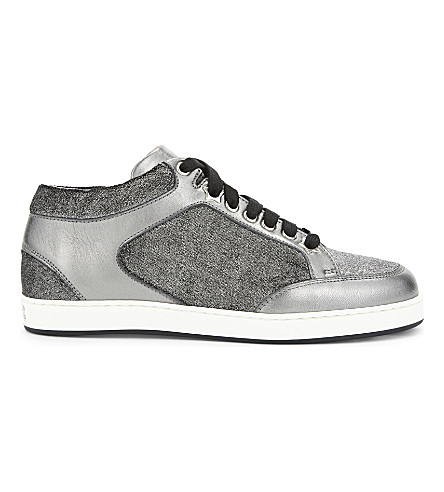 JIMMY CHOO Miami metallic leather and velvet trainers (Anthracite