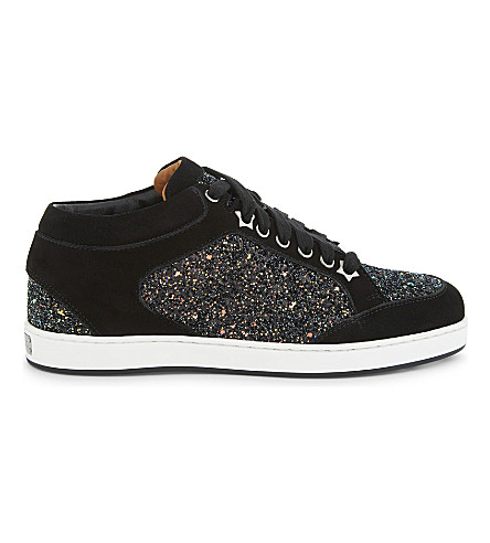 JIMMY CHOO Miami coarse glitter and suede trainers (Rainbow/black