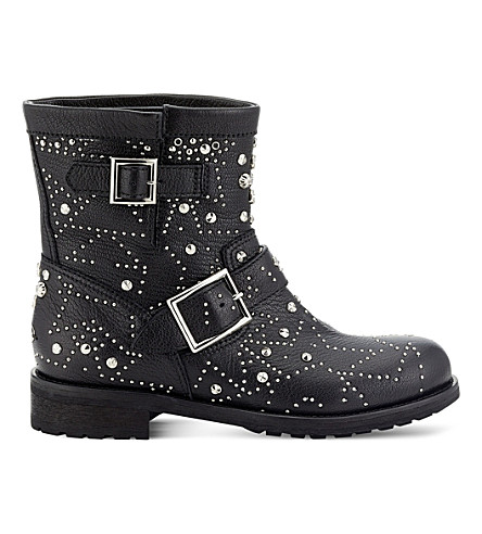JIMMY CHOO Youth leather biker boots (Black