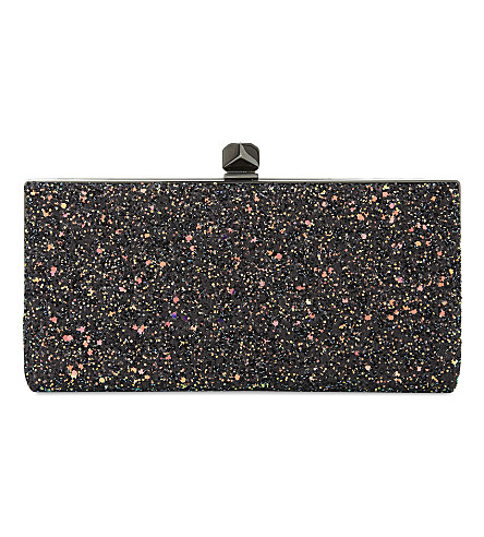 JIMMY CHOO Celeste coarse glitter clutch (Rainbow