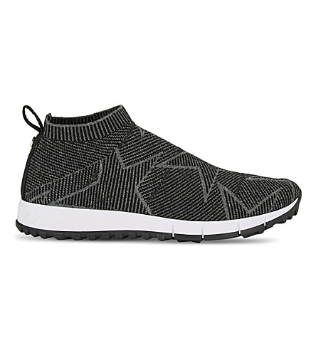 JIMMY CHOO Norway knitted lurex trainers (Mink/moonstone