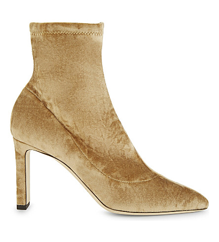 JIMMY CHOO Louella 85 crushed-velvet heeled ankle boots (Blonde