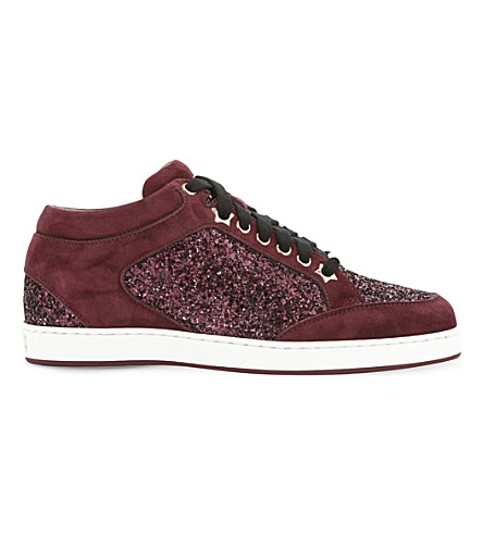 JIMMY CHOO Miami Galaxy suede and glitter sneakers (Vino/vino