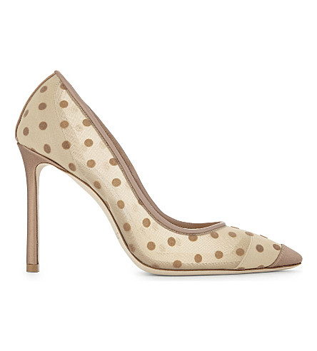 JIMMY CHOO Romy 100 satin and mesh courts (Nude/nude