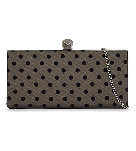 JIMMY CHOO Celeste satin and mesh clutch (Black