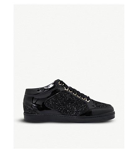 JIMMY CHOO Miami patent-leather and glitter sneakers (Black/black