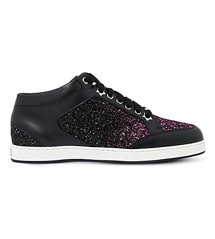 JIMMY CHOO Miami leather and glitter sneakers (Pink/black