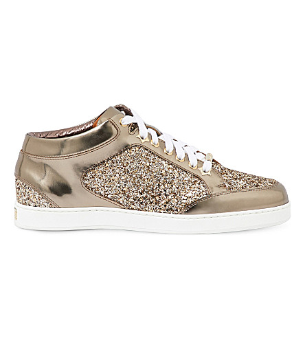 JIMMY CHOO Miami metallic-leather and glitter sneakers (Antique+gold/pewter