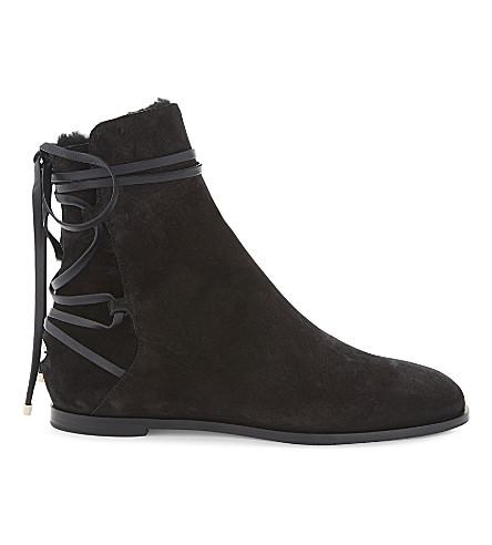 JIMMY CHOO Hampton flat suede boots (Black