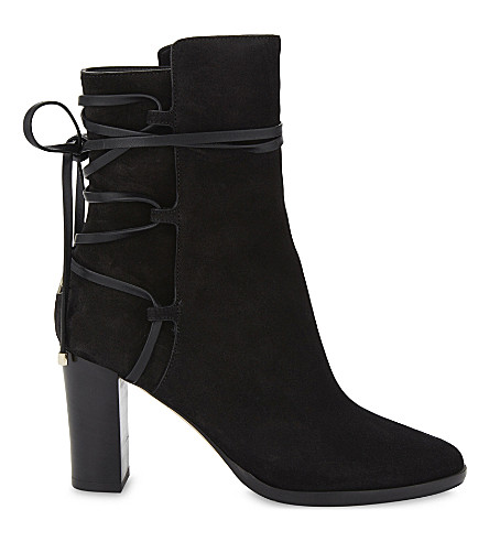 JIMMY CHOO Hampton 80 suede heeled ankle boots (Black