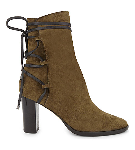 JIMMY CHOO Hampton 80 suede heeled ankle boots (Olive