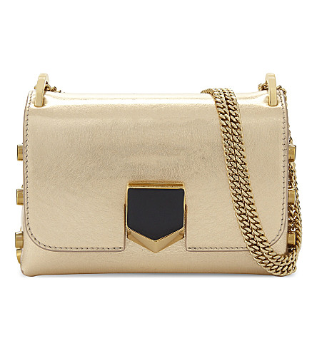 JIMMY CHOO Lockett mini metallic leather shoulder bag (Gold