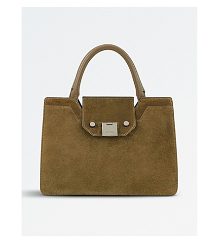 JIMMY CHOO Rebel small suede tote bag (Olive