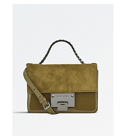 JIMMY CHOO Rebel soft mini suede and patent-leather shoulder bag (Olive