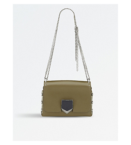 JIMMY CHOO Lockett Petite leather shoulder bag (Olive