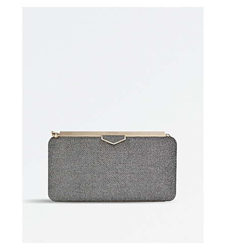 JIMMY CHOO Ellipse lamé glitter clutch (Anthracite
