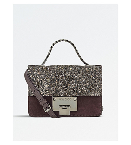 JIMMY CHOO Rebel soft mini suede and coarse glitter shoulder bag (Burgundy/bronze+mix