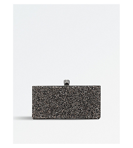 JIMMY CHOO Celeste glitter and leather clutch bag (Bronze+mix