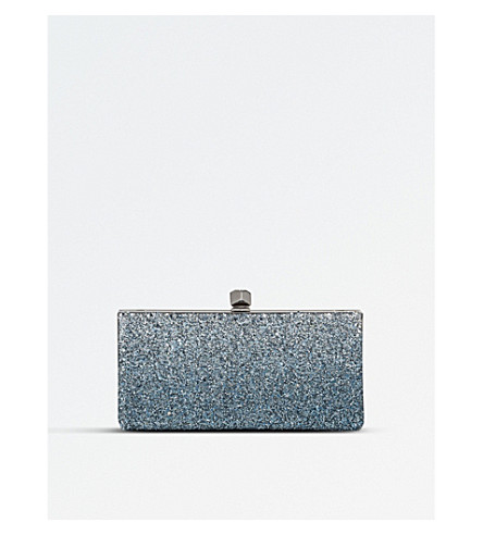 JIMMY CHOO Celeste glitter and leather clutch bag (Silver/dusk+blue