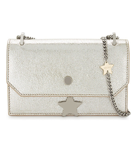 JIMMY CHOO Serena glitter leather cross-body bag (Champagne