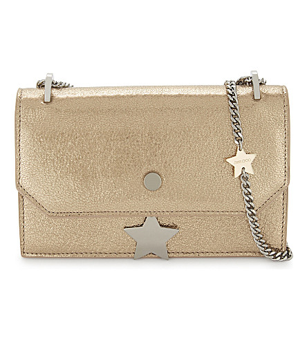 JIMMY CHOO Serena glitter leather cross-body bag (Gold