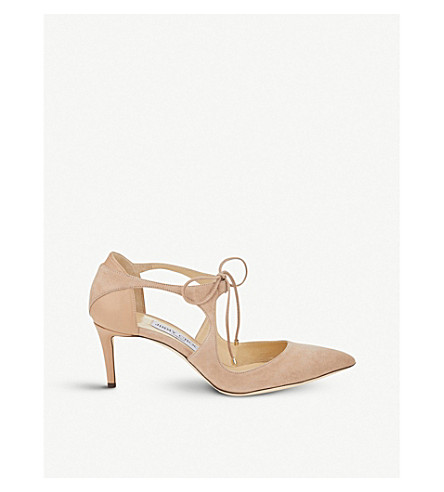 JIMMY CHOO Vanessa 65 suede and nappa-leather courts (Ballet+pink
