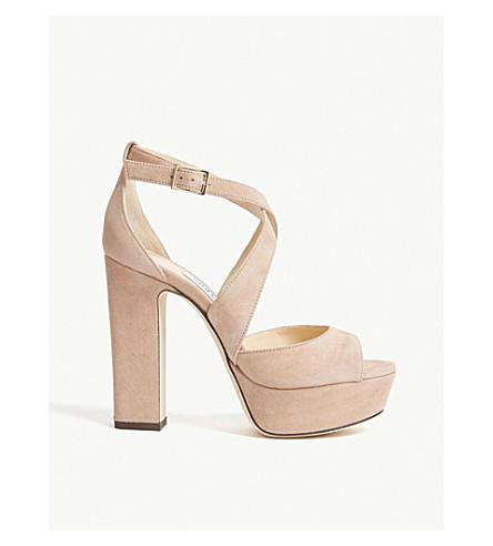 JIMMY CHOO April 120 suede heeled platform sandals (Ballet+pink