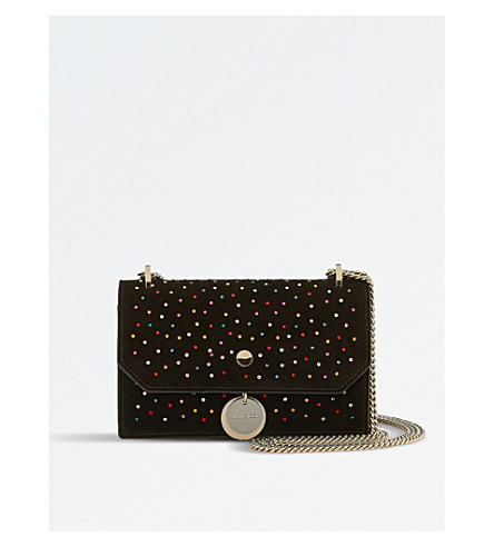 JIMMY CHOO Finley scattered crystals and suede cross-body bag (Multi/black
