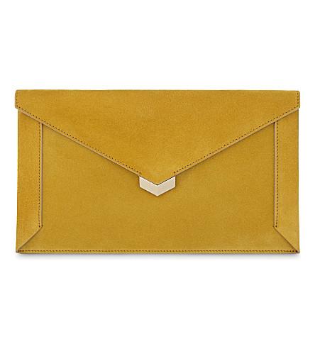 JIMMY CHOO Lauren suede pouch (Golden