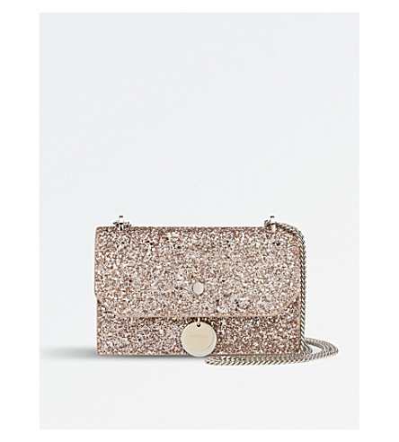 JIMMY CHOO Finley coarse glitter cross-body bag (Ballet+pink