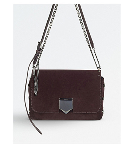 JIMMY CHOO Lockett City suede shoulder bag (Burgundy