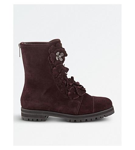 JIMMY CHOO Havana flat suede boots (Burgundy