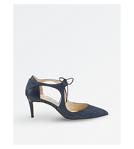 JIMMY CHOO Vanessa 65 tweed and nappa-leather courts (Navy/navy