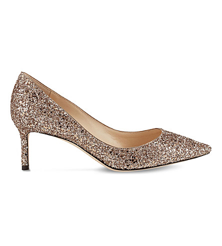 JIMMY CHOO Romy 60 coarse glitter courts (Ballet+pink
