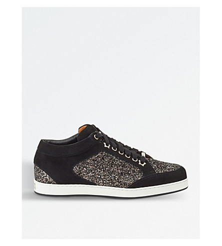 JIMMY CHOO Miami coarse glitter and suede trainers (Bronze+mix/black