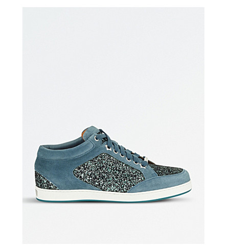JIMMY CHOO Miami coarse glitter and suede trainers (Dusk+blue/dusk+blue