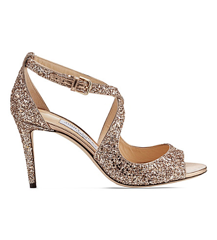 JIMMY CHOO Emily 85 coarse glitter heeled sandals (Ballet+pink