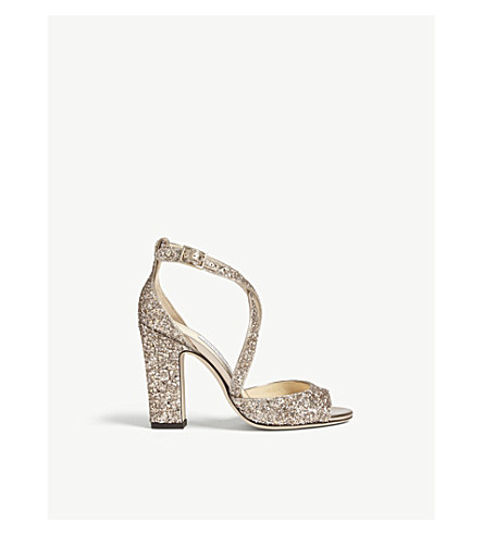 JIMMY CHOO Carrie 100 glitter sandals (Ballet+pink