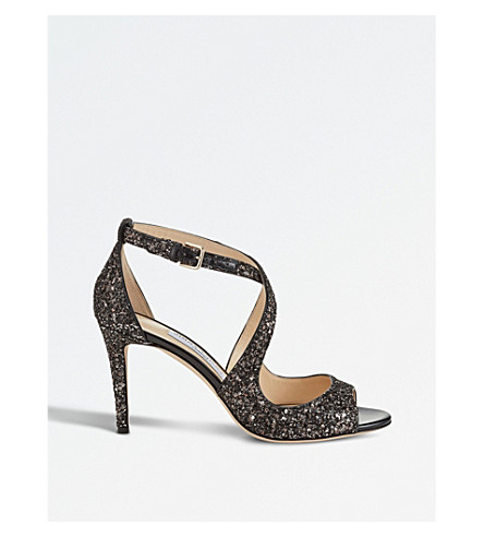 JIMMY CHOO Emily 85 coarse glitter heeled sandals (Bronze+mix