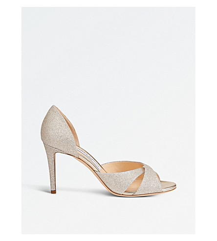 JIMMY CHOO Lara 85 glitter heeled sandals (Platinum+ice