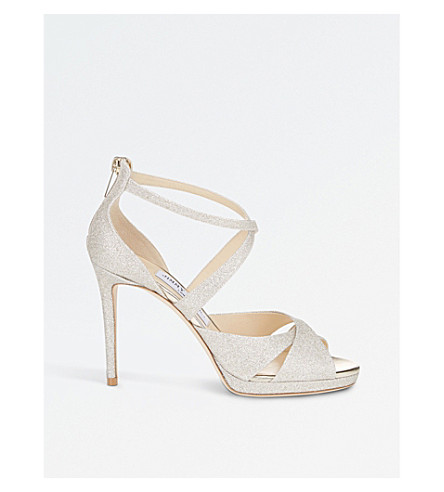JIMMY CHOO Lorina 100 glitter-leather and satin heeled sandals (Platinum+ice