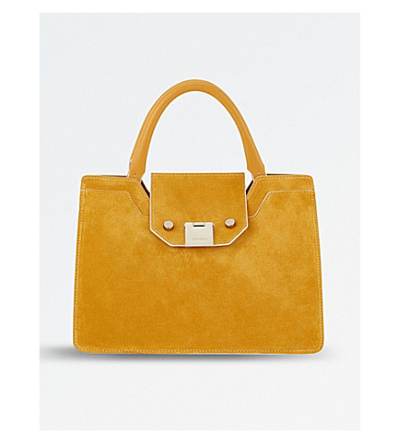 JIMMY CHOO Rebel small suede tote bag (Golden