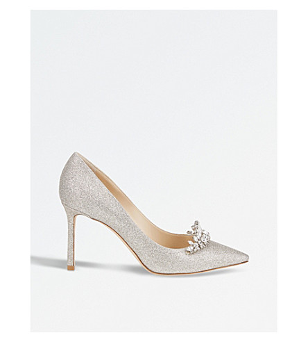JIMMY CHOO Romy 85 glitter courts (Platinum+ice/crystal