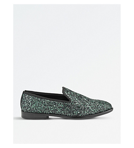 JIMMY CHOO Marlo coarse glitter loafers (Dusk+blue+mix